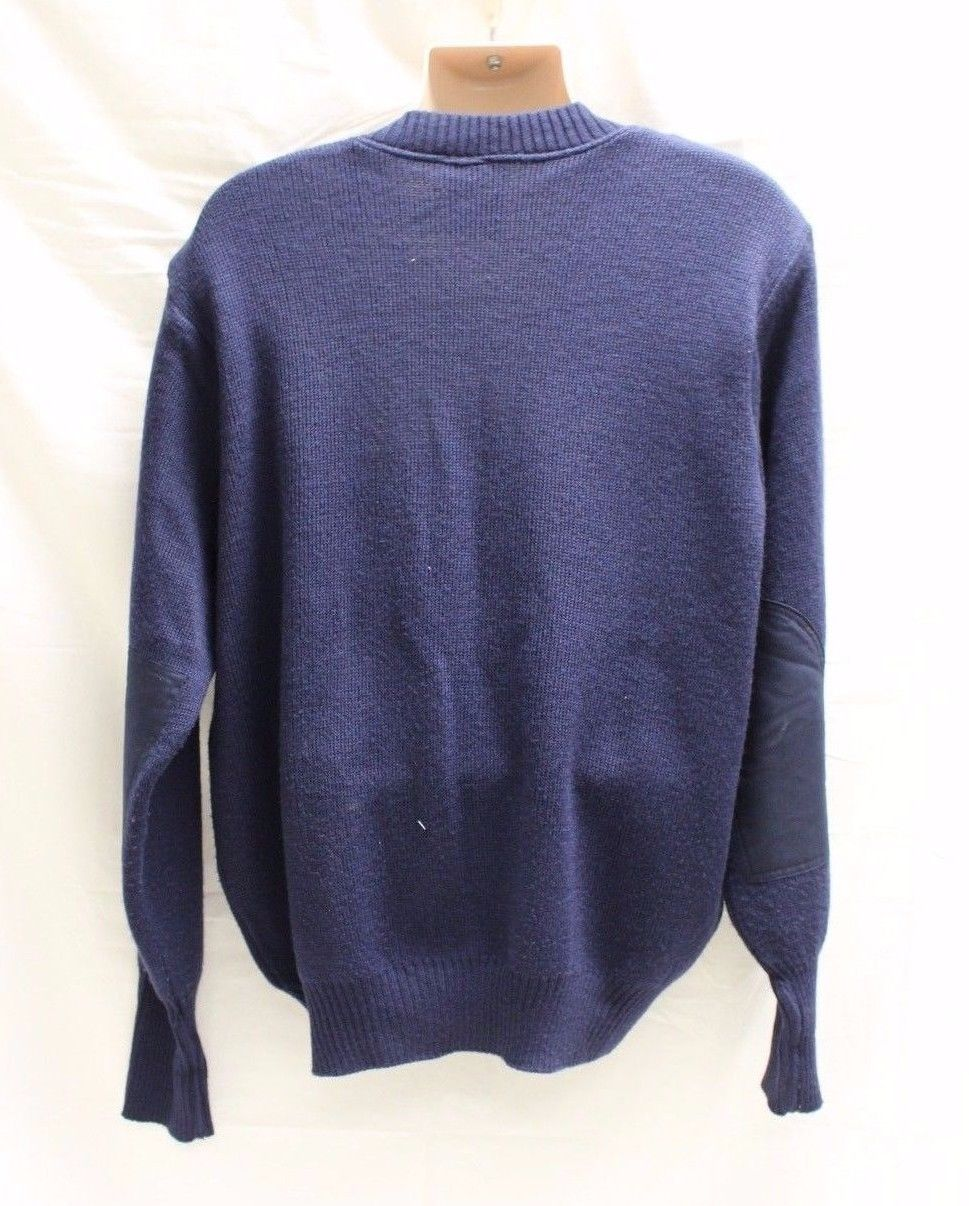 Men/'s Military Wool Blend V Neck Pullover Sweater with Elbow Patches 46R