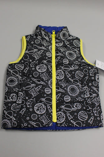 Spotted Zebra Kids' Reversible Puffer Vest, Size: 3T, Space/Blue, New