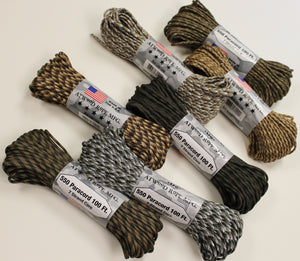 550 Paracord 100 Ft, 7 Strand Core, Atwood Rope, Various Patterns