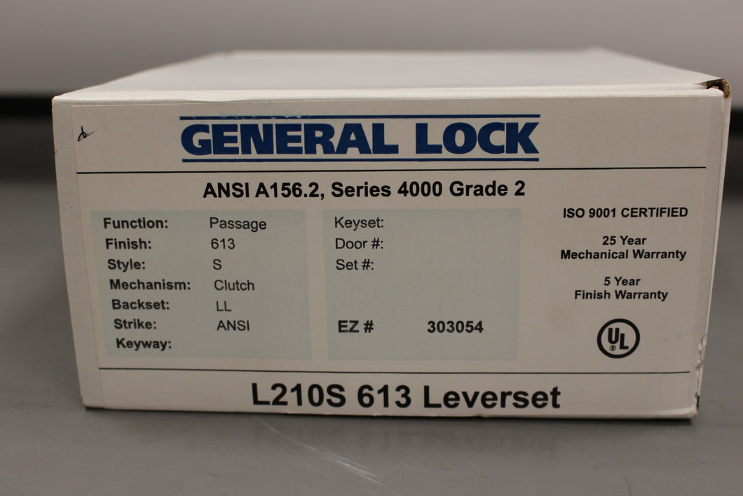 General Lock L210S 613 Leverset ANSI A156.2 Series 4000 Grade 2 Passage, Black, NEW!