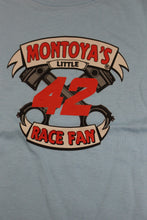 "Load image into Gallery viewer, Juan Pablo Montoya #42 Nascar ""I Love Racing"" Baby Onsie, Size: 18 Months, Blue, New!"