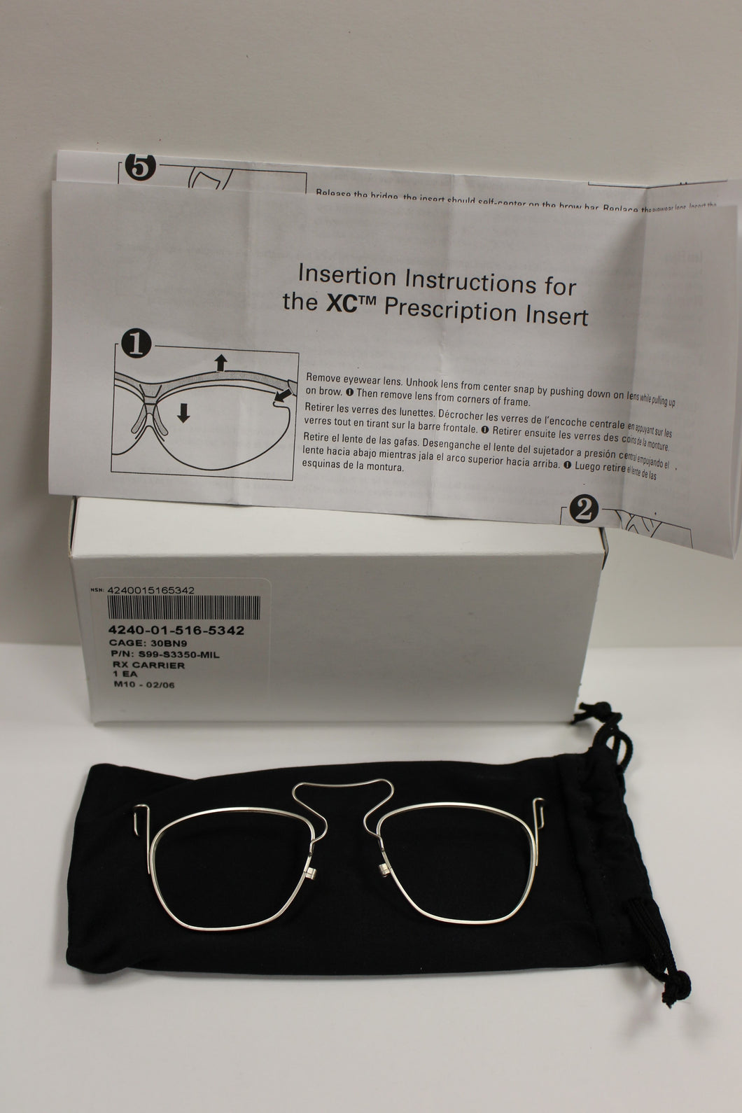 Uvex XC Safety Eyewear RX Carrier Prescription Lens Insert , 4240-01-516-5342, New