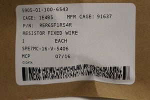 Inductive Wire Wound Fixed Resistor / Fuse Resistor, 5905-01-100-6543, New