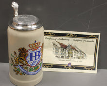 Load image into Gallery viewer, Hofbrauhaus Munich Lion Crest Stoare German Beer Stein 1L Oktoberfest Munchen, Includes Certificate