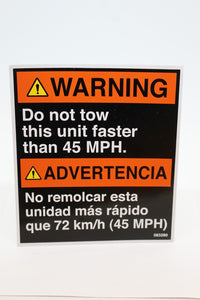 Warning Do not tow this unit faster than 45 MPH, 7690-01-642-6383, 083280, New