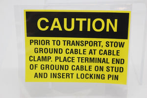 Caution Warning Decal, 7690-01-528-7336, SM-C-801215/29, Prior To Transport, New