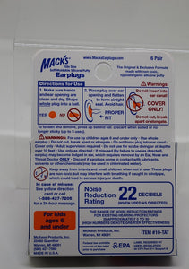 Mack's Kids Earplugs, 6 pairs, Soft Moldable silicone Putty, Noise Reduction 22 dB, NEW!