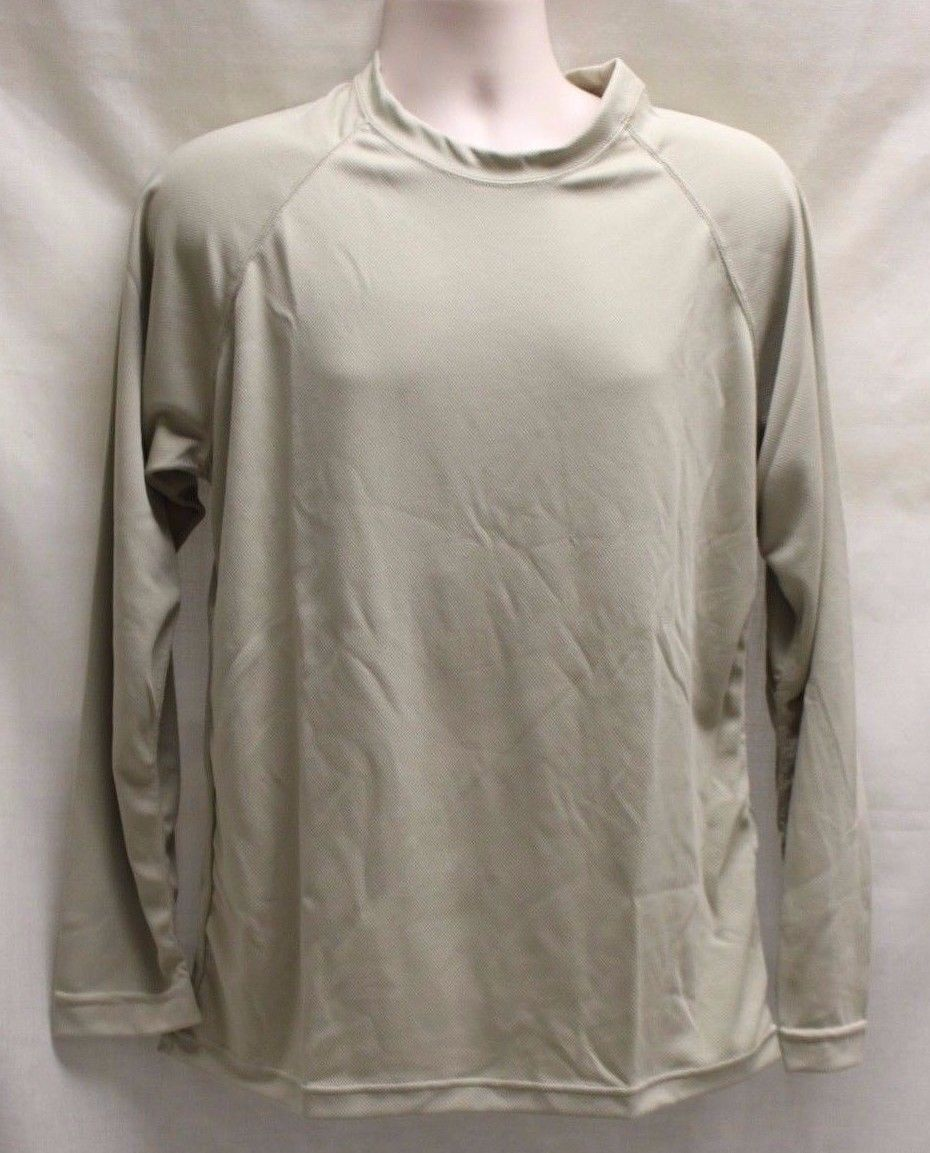 Mens UNITED Long Sleeve Athletic Base Layer Shirt, Size: L/R, Color: Sand, NEW!