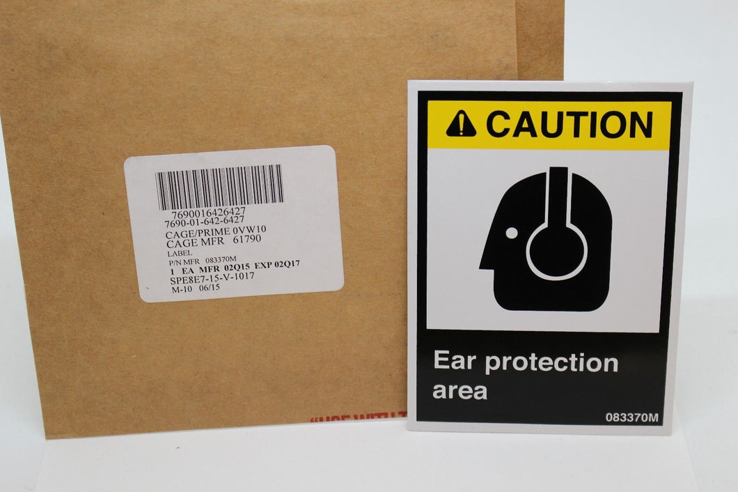 3M Caution Ear Protect Area Label Decal, 7690-01-642-6427, 083370M, New