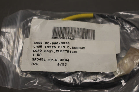 US Military Aircraft Electrical Cord Assembly, NSN 5995-00-988-9836, P/N 668845