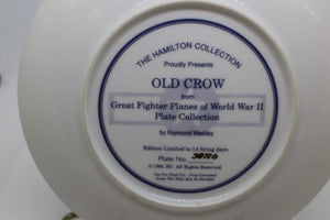 "Great Fighter Planes of WW II Plate Collection, ""Old Crow"", Plate No. 3877G"