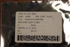 Film Fixed Chip Resistor, 5905-01-627-8890, 5905-01-627-8890, RCWP0575150RFKWB, New