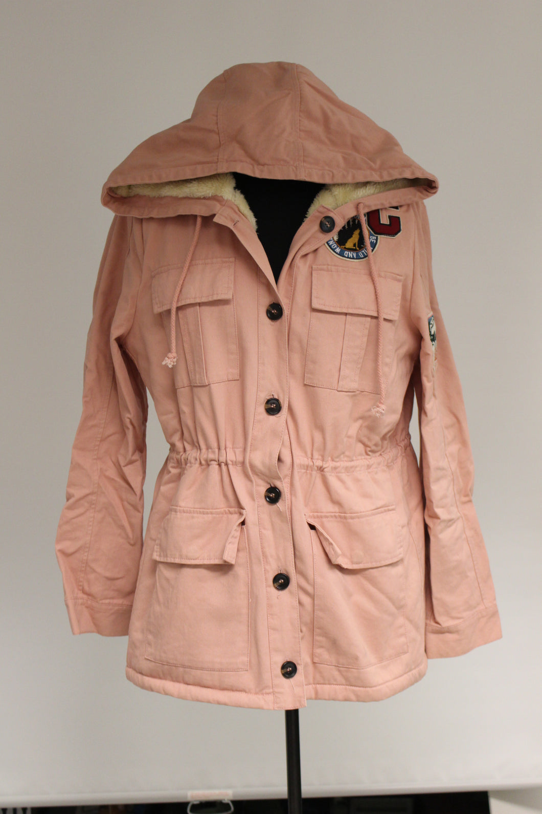 Iris Ladies Winter Coat, CA Be Wild & Wonder Patch, Mountain Saving Wildlife Patch, Large, Dusty Pink