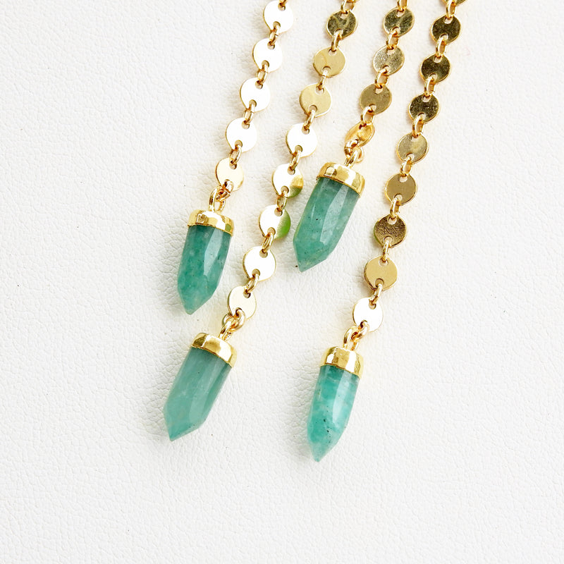 Spike Swinger Earrings - Amazonite
