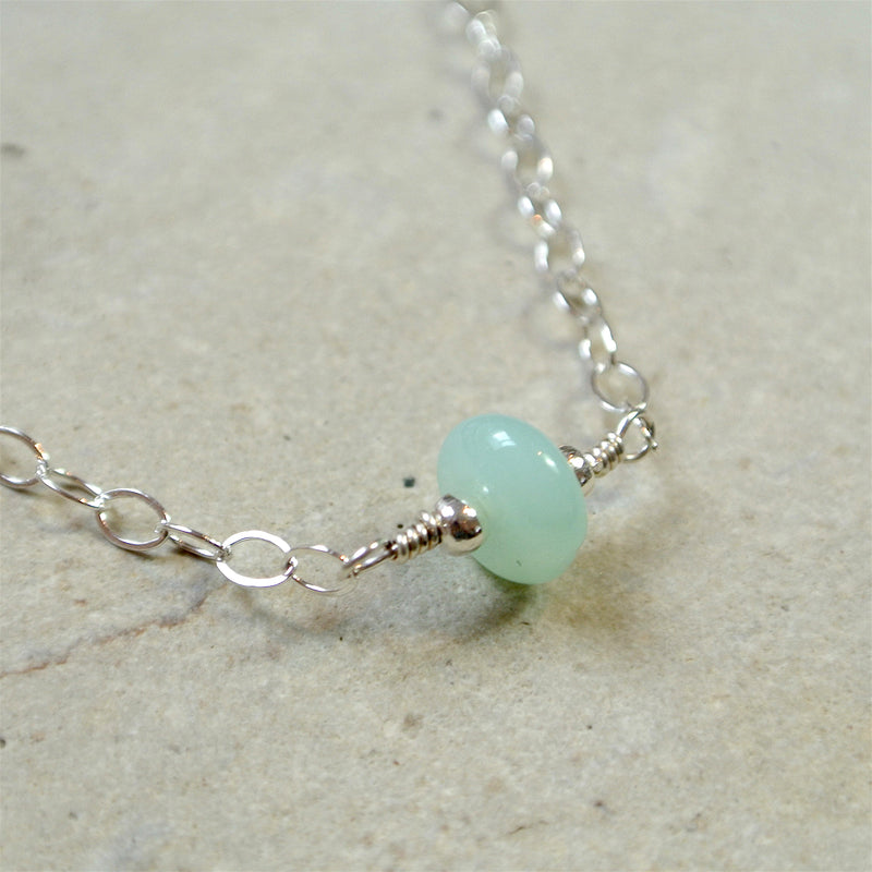 Essential Energy Gemstone Necklace: Peruvian Opal (Blue)-Communication