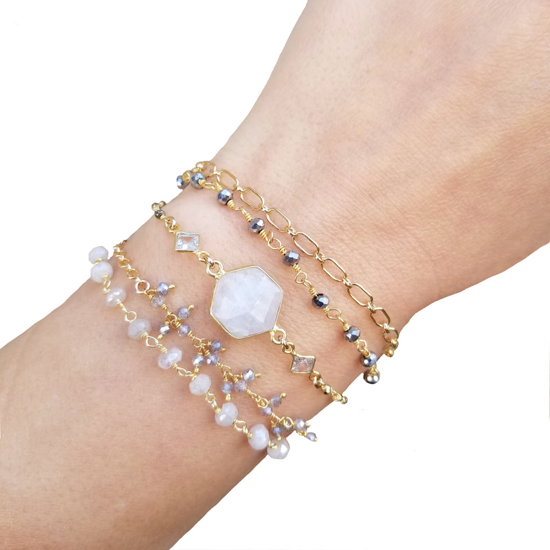 Wrap Bracelet - White - Gold