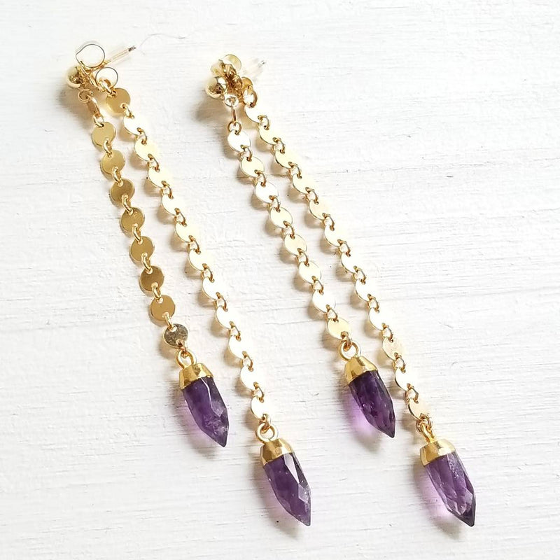 Spike Swinger Earrings -Amethyst