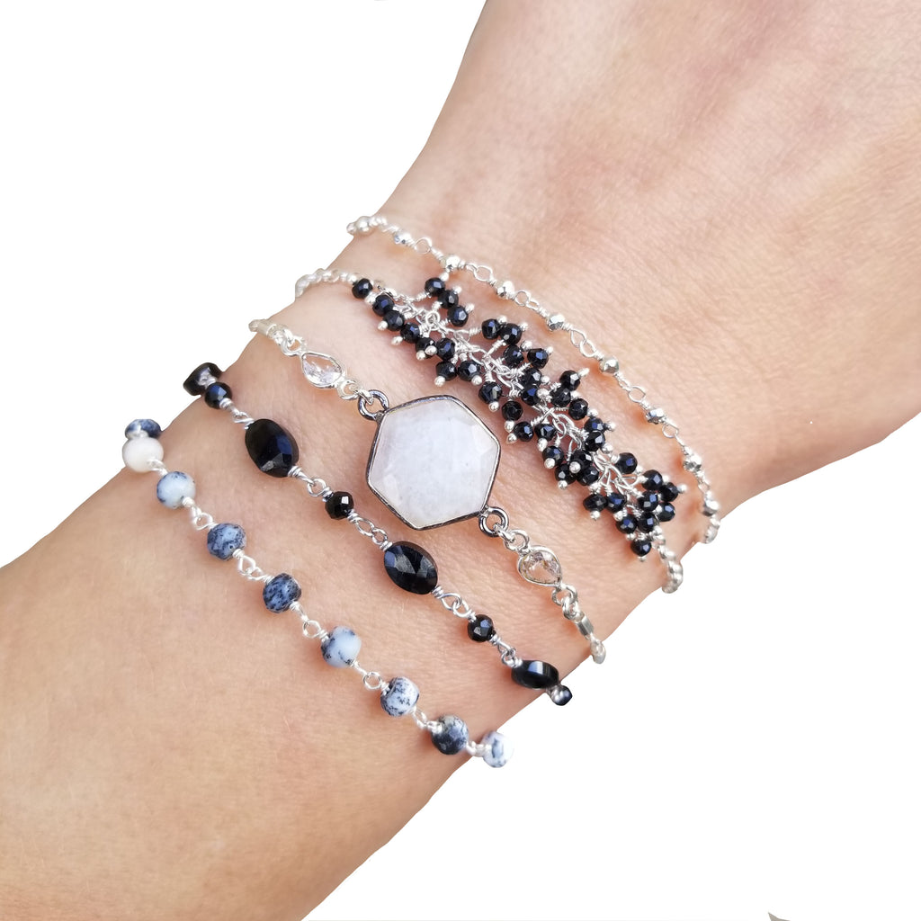 Wrap Bracelet - Black and White - Silver