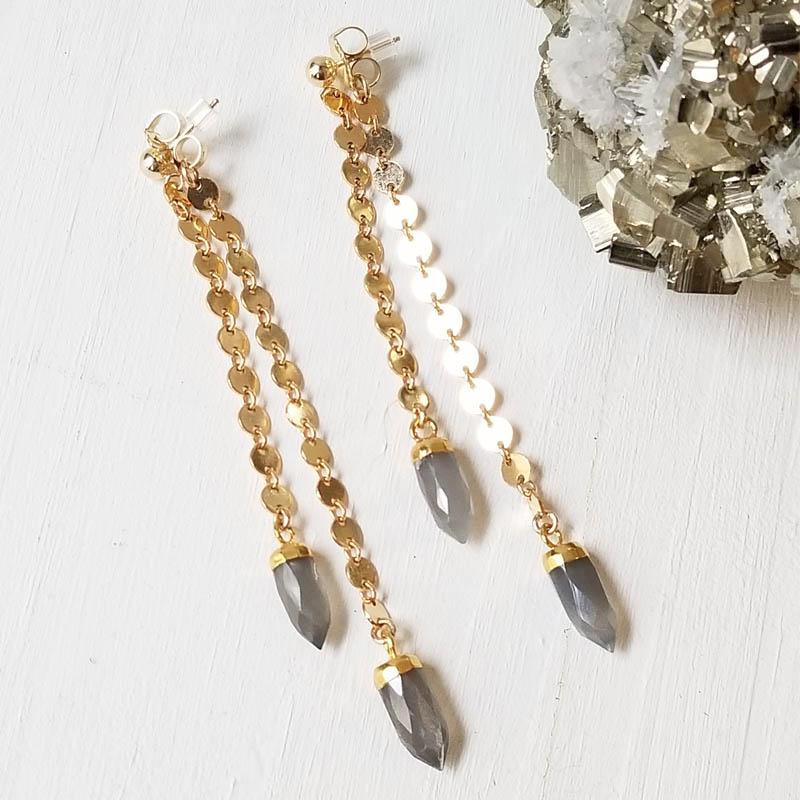 Spike Swinger Earrings- Gray Moonstone