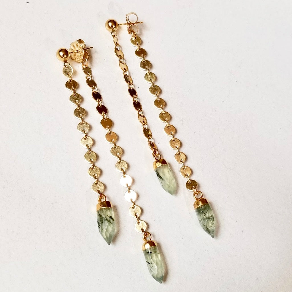Spike Swinger Earrings - Prehnite