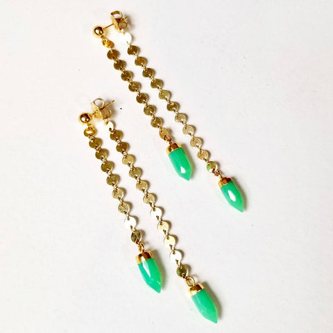 Spike Swinger Earrings - Green Onyx - Silver