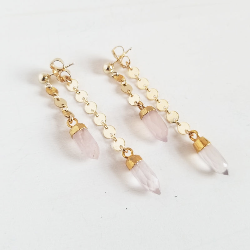Shorty Spike Swinger Earrings - Rose Quartz