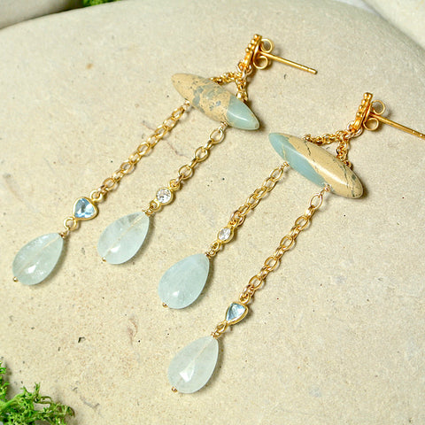 Spike Swinger Earrings -Dendrite Opal