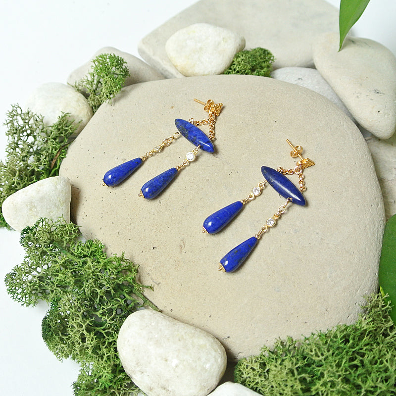 Alexandra Earrings - Lapis Blue