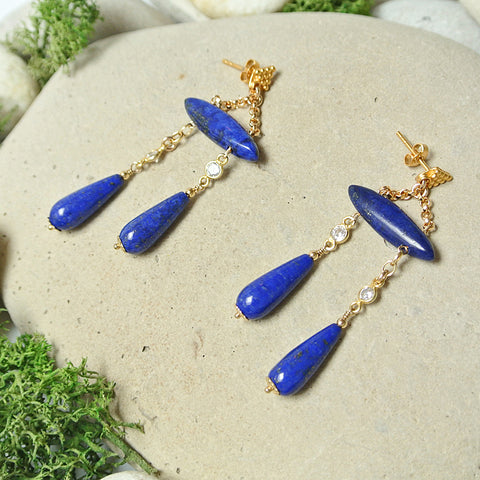 Alexandra Earrings - Nighttime Blue