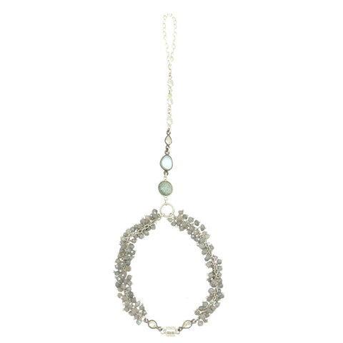 Blue & Champagne Diamond Necklace