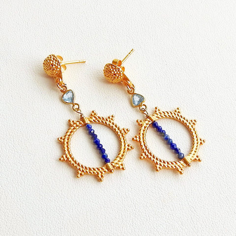 Spike Swinger Earrings -Lapis Lazuli