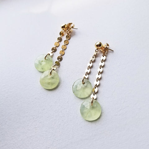 Spike Swinger Earrings -Green Onyx