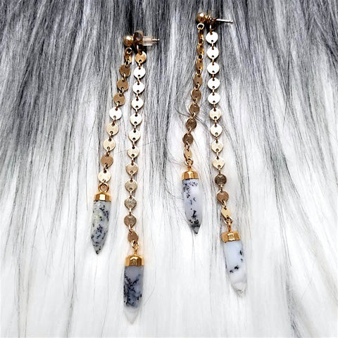 Shorty Spike Swinger Earrings - Gray Moonstone