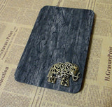 Steampunk Hollow Ornate Elephant iPad Black Wooden Pattern Stand Case Cover (Not Real Wood) - CaseCarnival- iPad Cases