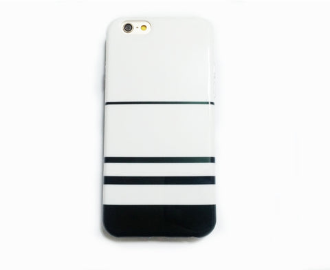 iPhone 6/6s and Plus Soft Case - Simple White and Black Stripes