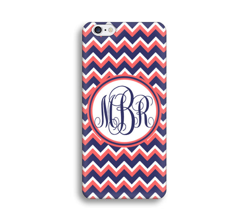 Chevron Monogram Case - Navy Blue and Hot Pink Chevron - CC003 - CaseCarnival