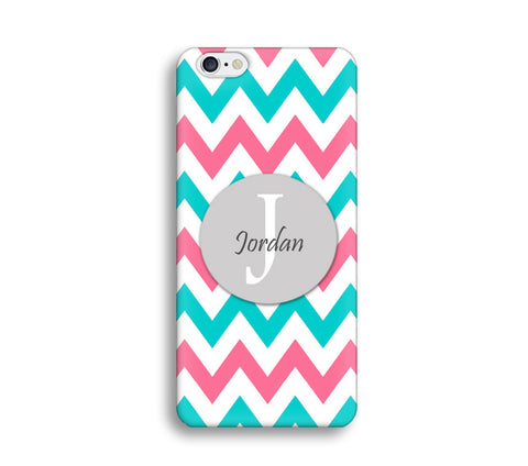Turquoise and Hot pink Chevron Monogram Case - CC002 - CaseCarnival- Monogram case