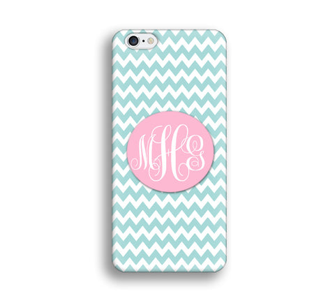 Chevron Monogram Cell Phone Case - Teal blue chevron - CC007 - CaseCarnival