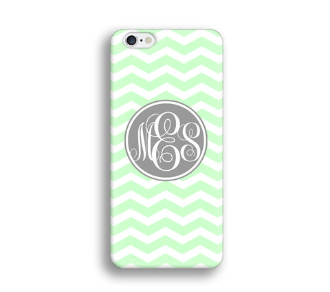 Chevron Monogram Cell Phone Case - Mint Green Chevron - CC009 - CaseCarnival