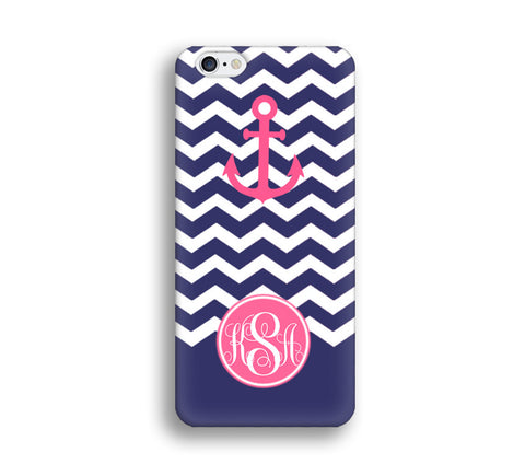Navy Blue Chevron Monogram Cell Phone Case - Hot pink Anchor - NC006 - CaseCarnival- Monogram case