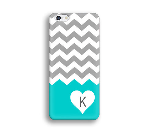 Chevron Monogram Cell Phone Case - Turquoise and Grey Chevron - Heart CL010 - CaseCarnival- Monogram case