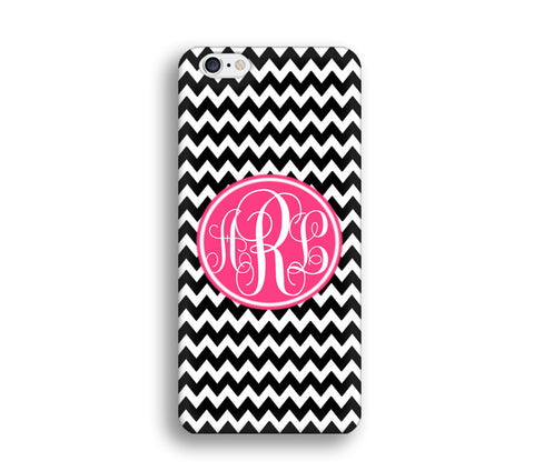 Chevron Monogram Cell Phone Case - Blakc Chevron - CC017 - CaseCarnival- Monogram case