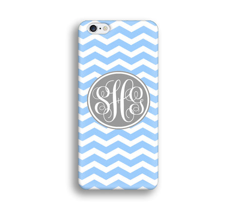 Chevron Monogram Cell Phone Case - Blue Chevron - CC014 - CaseCarnival