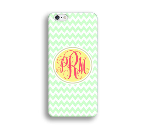 Chevron Monogram Cell Phone Case - Mint Green Chevron - CC012 - CaseCarnival