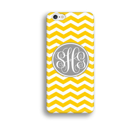 Chevron Monogram Cell Phone Case - Orange Chevron - CC013 - CaseCarnival