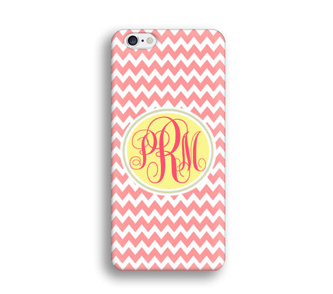 Chevron Monogram Cell Phone Case - Pink Chevron - CC016 - CaseCarnival- Monogram case