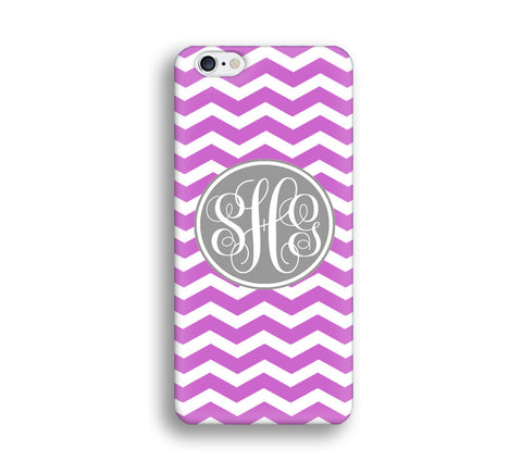 Chevron Monogram Cell Phone Case - Purple Chevron - CC015 - CaseCarnival- Monogram case