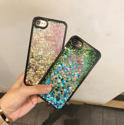 Mermaid Scales Color Heart Liquid Glitter Waterfall iPhone 6/6s/7 and Plus Case