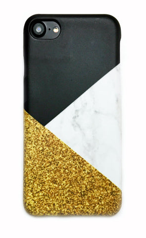 Geometric Triangle Marble Gold Glitter Print iPhone 6/6s/7/8 and Plus Hard Case (Not real glitter) - CaseCarnival- Design Cases