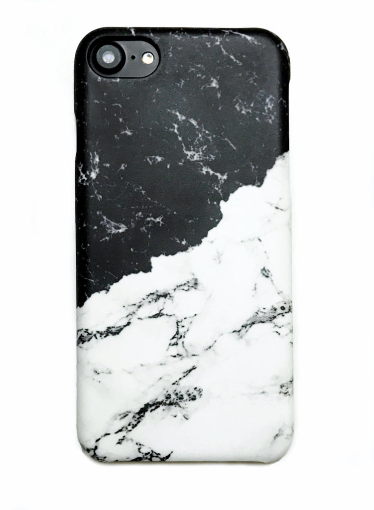 newest 0c850 513a7 Black and White Milky Marble iPhone 6/6s/7/8 and Plus Hard Case